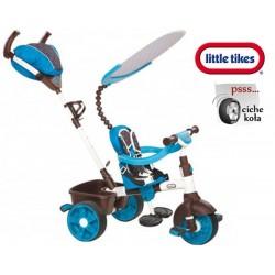 Little Tikes Sterowany Rączką Rowerek trójkołowy 4w1 Gumowe ciche Koła biało niebieski