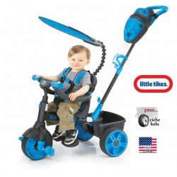 Little Tikes Sterowany Rączką niebieski Rowerek trójkołowy 4w1 Gumowe Ciche Koła NEON