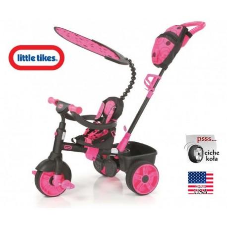 Little Tikes Sterowany Rączką Rowerek trójkołowy 4w1 Gumowe Ciche Koła NEON pink