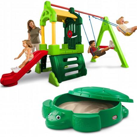 Little Tikes Duży plac zabaw Clubhouse huśtawka zjeżdżalnia + piaskownica żółw z pokrywą
