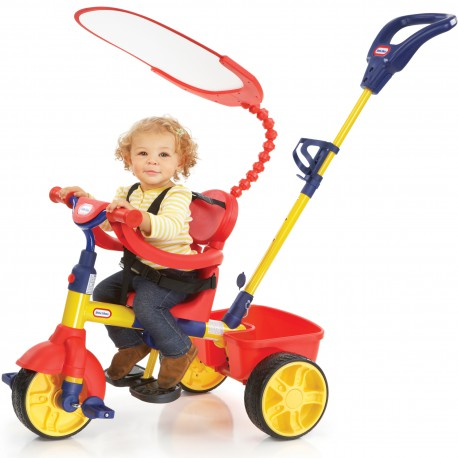 Little Tikes Trójkołowy rowerek 3w1 z Baldachimem czerw. - nieb.